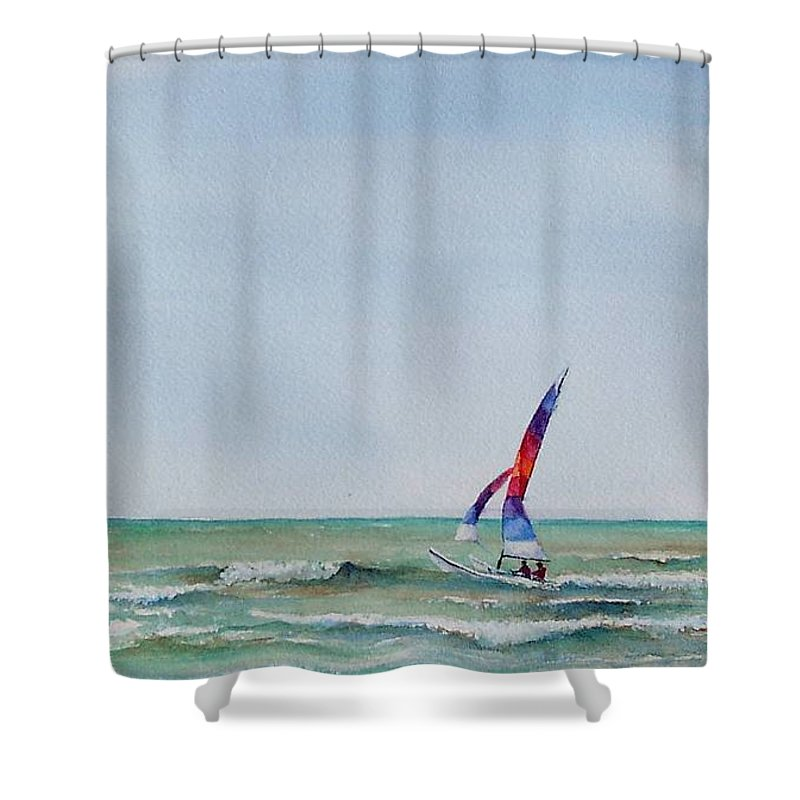 Boat Shower Curtain featuring the painting Ipperwash Beach by Patricia Henderson