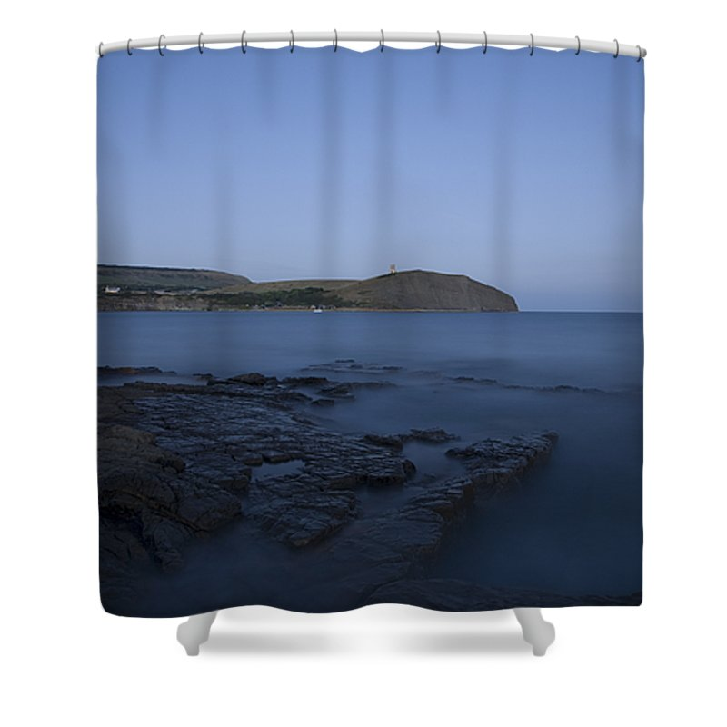 Kimmeridge Shower Curtain featuring the photograph Kimmeridge Bay At Dusk In Dorset by Ian Middleton