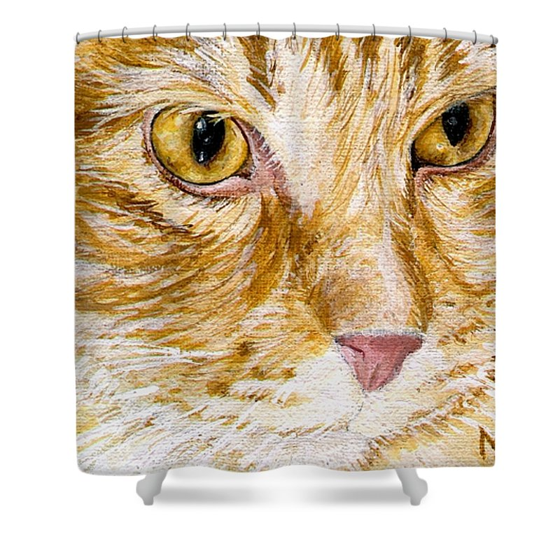 Charity Shower Curtain featuring the painting Leo by Mary-Lee Sanders