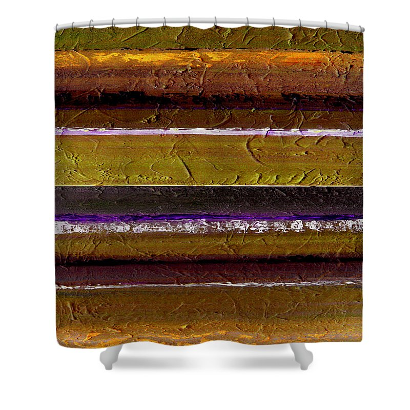 Abstract Shower Curtain featuring the painting Lined Up by Ruth Palmer