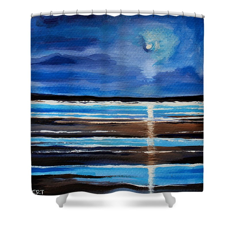 Beach Shower Curtain featuring the painting Midnight At The Beach by Elizabeth Robinette Tyndall