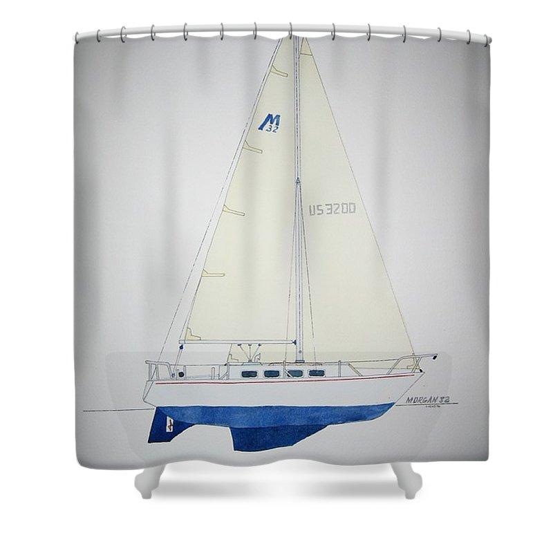 Sail Sailboat Ocean Sea Morgan Boat Nautical Yacht Shower Curtain featuring the painting Morgan 32 by Jeff Lucas