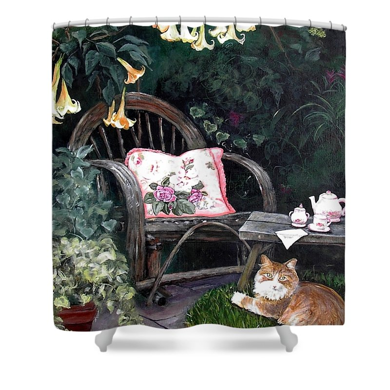 Charity Shower Curtain featuring the painting My Secret Garden by Mary-Lee Sanders