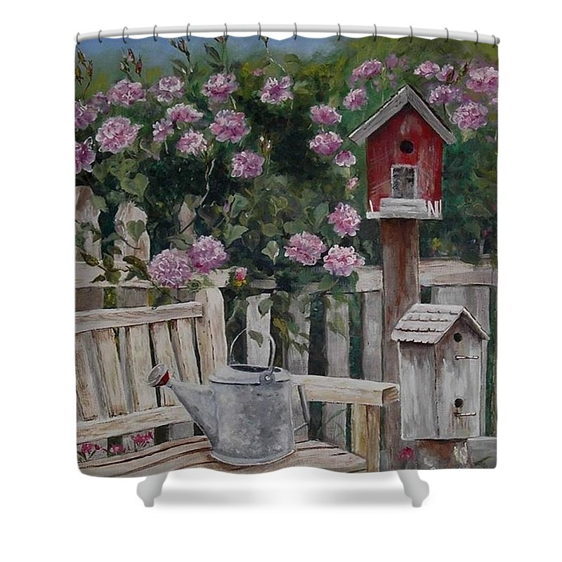 Charity Shower Curtain featuring the painting Take A Seat by Mary-Lee Sanders