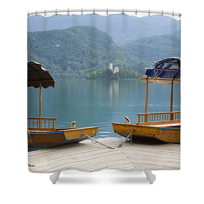 Tourism Shower Curtain featuring the photograph View Across Lake Bled by Ian Middleton