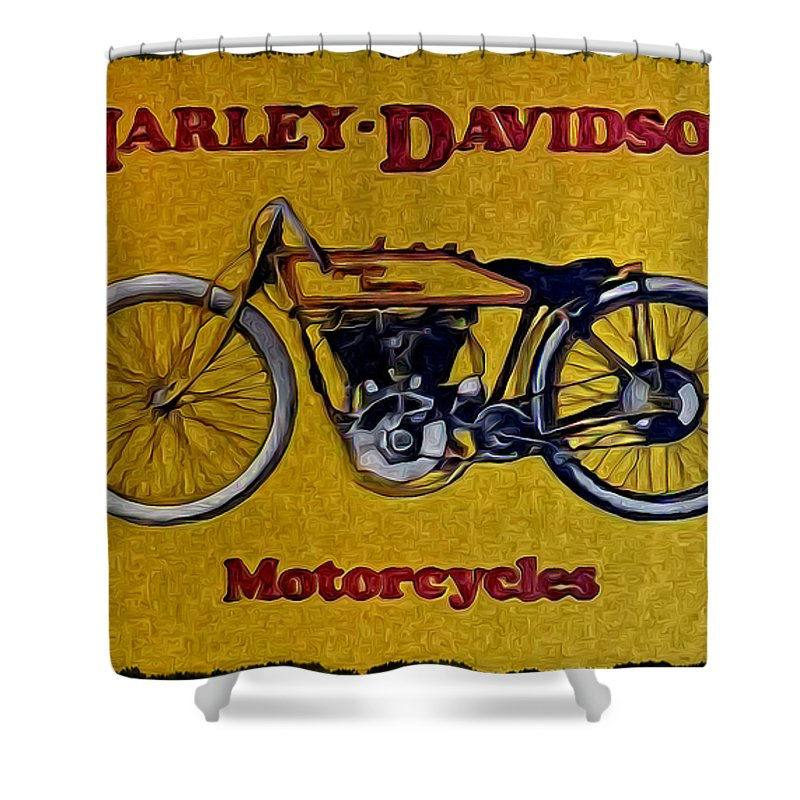Vintage Harley Davidson Shower Curtain Featuring The Photograph By Bill Cannon