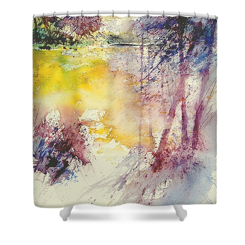 River Shower Curtain featuring the painting Watercolor 007 by Pol Ledent