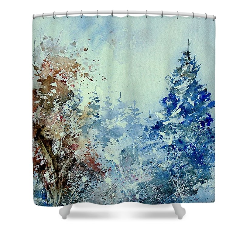 Tree Shower Curtain featuring the painting Watercolor 010307 by Pol Ledent