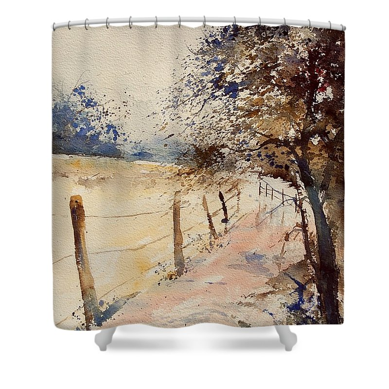 Tree Shower Curtain featuring the painting Watercolor 041106 by Pol Ledent