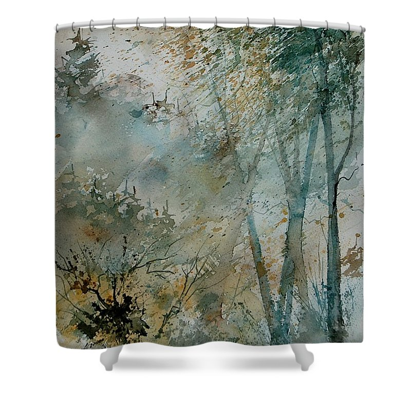 Tree Shower Curtain featuring the painting Watercolor 051008 by Pol Ledent