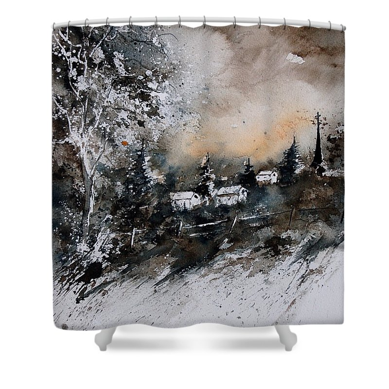 Winter Shower Curtain featuring the painting Watercolor 121206 by Pol Ledent