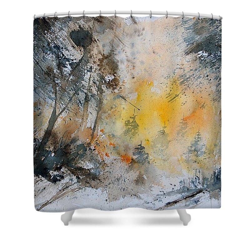 Tree Shower Curtain featuring the painting Watercolor 131206 by Pol Ledent