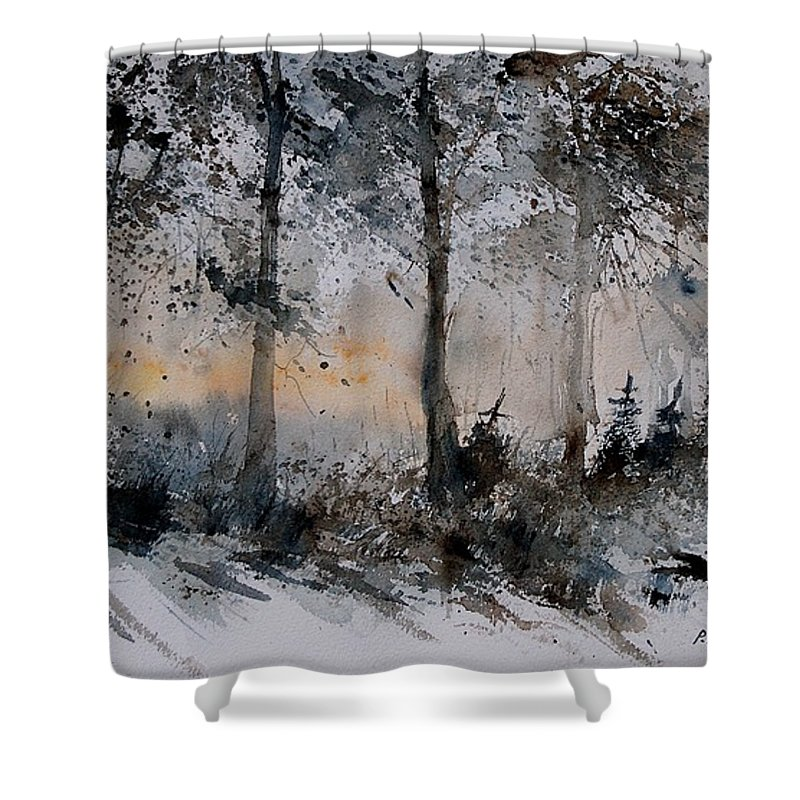 Tree Shower Curtain featuring the painting Watercolor 141206 by Pol Ledent