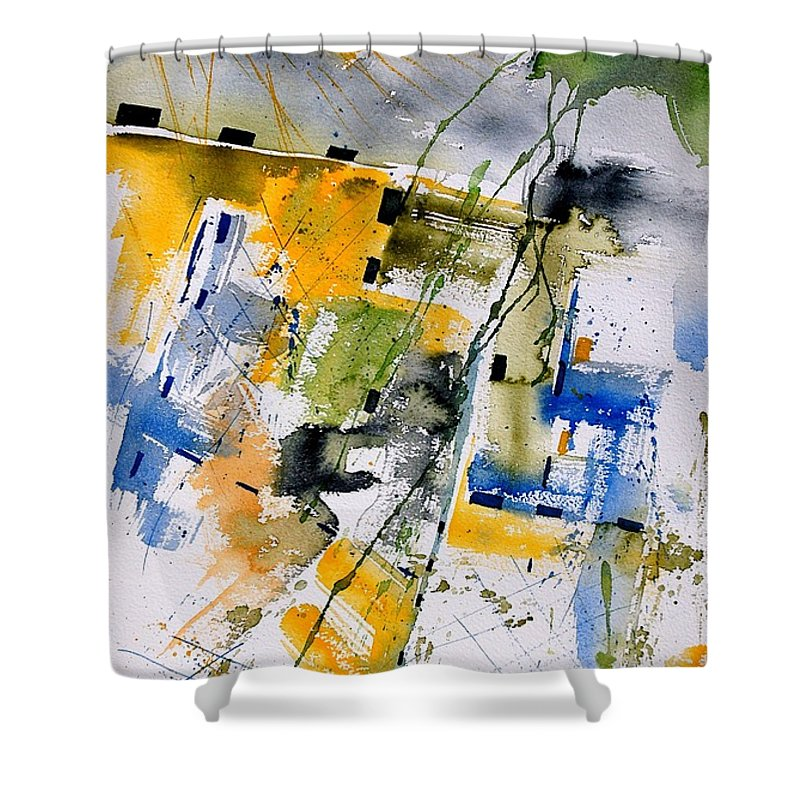 Abstract Shower Curtain featuring the painting Watercolor 161106 by Pol Ledent
