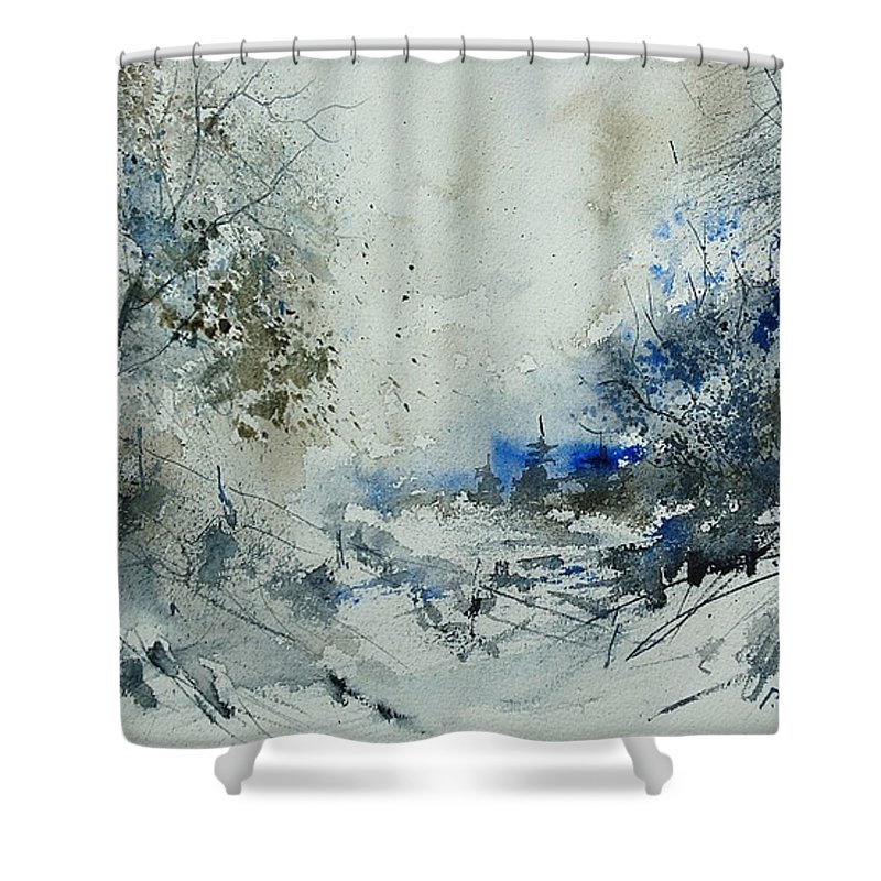 Winter Shower Curtain featuring the painting Watercolor 210307 by Pol Ledent