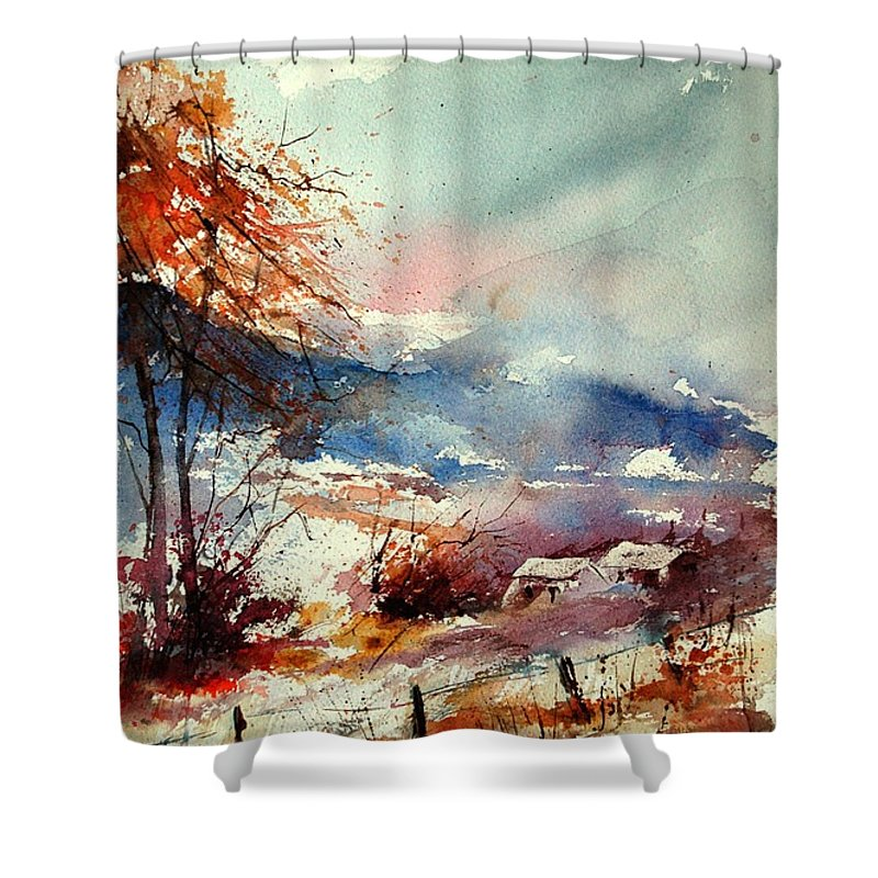 Winter Shower Curtain featuring the painting Watercolor 221108 by Pol Ledent