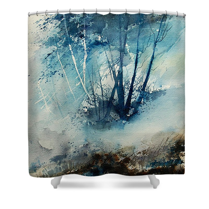 Tree Shower Curtain featuring the painting Watercolor 230907 by Pol Ledent