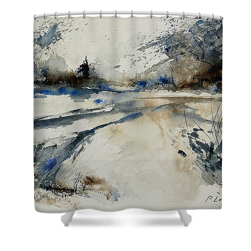 Winter Shower Curtain featuring the painting Watercolor 240906 by Pol Ledent