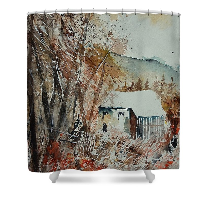 Tree Shower Curtain featuring the painting Watercolor 902001 by Pol Ledent