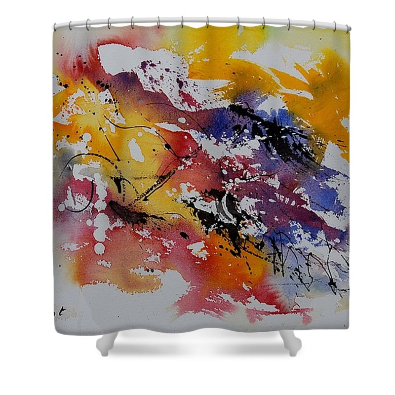 Abstract Shower Curtain featuring the painting Watercolor 902022 by Pol Ledent
