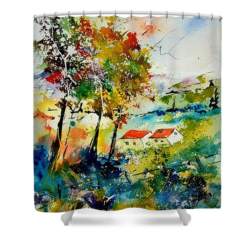 Poppies Shower Curtain featuring the painting Watercolor 903001 by Pol Ledent