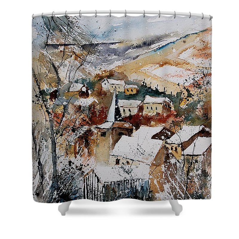 Winter Shower Curtain featuring the painting Watercolor 904002 by Pol Ledent