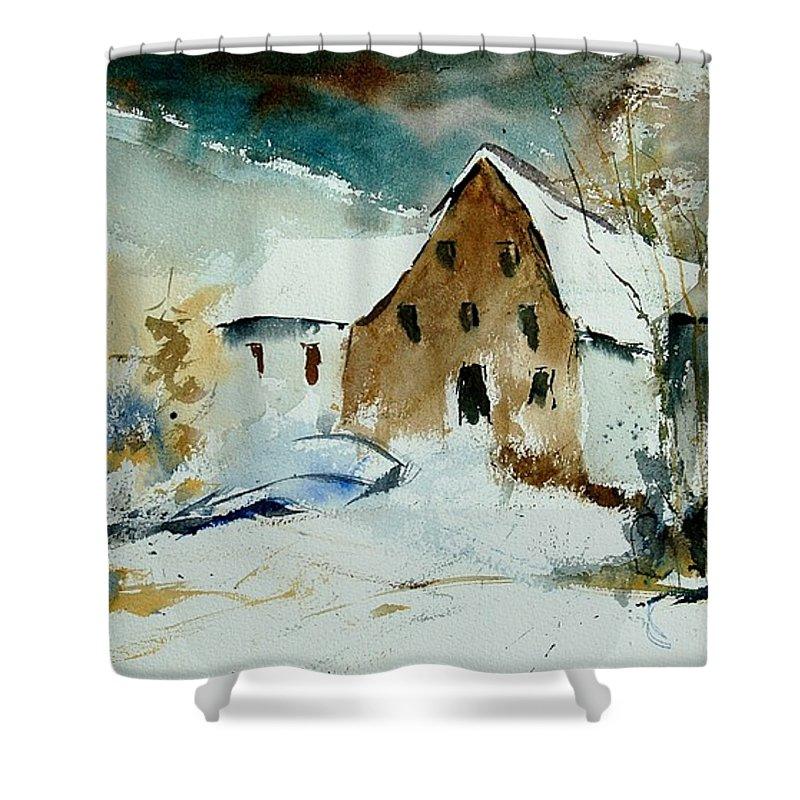 Winter Shower Curtain featuring the painting Watercolor 9696 by Pol Ledent