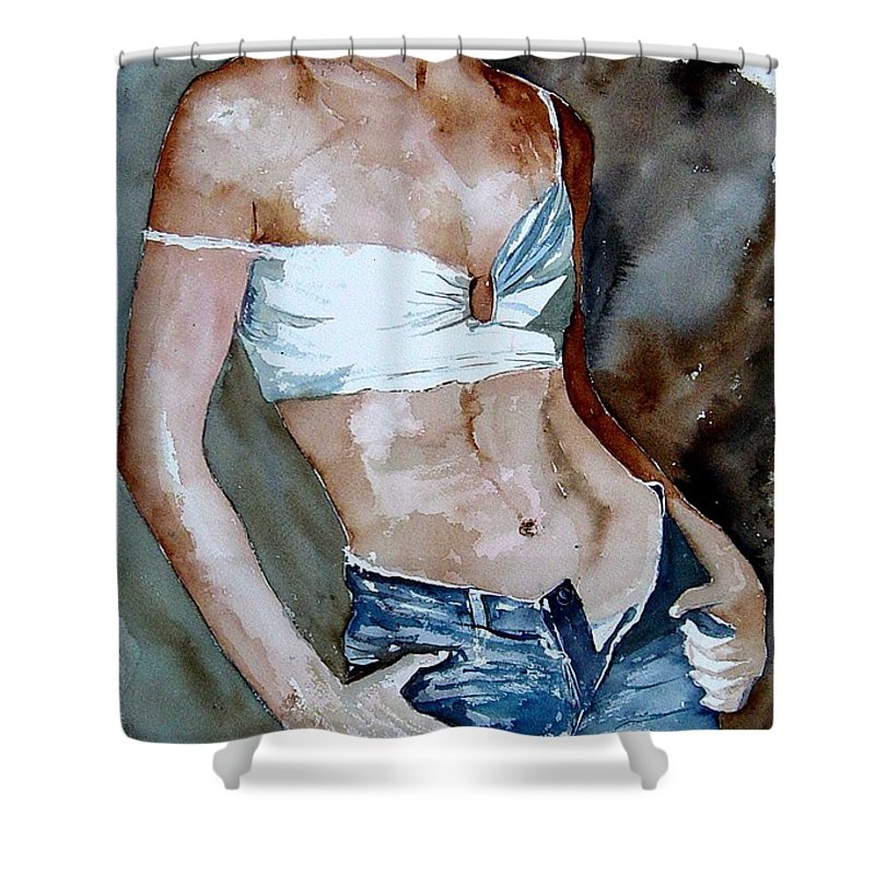 Nude Shower Curtain featuring the painting Watercolor Nude 100405 by Pol Ledent