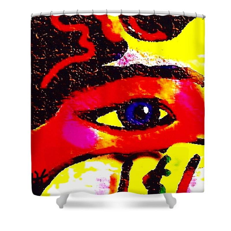 Abstract Shower Curtain featuring the painting Window To The Soul by Natalie Holland