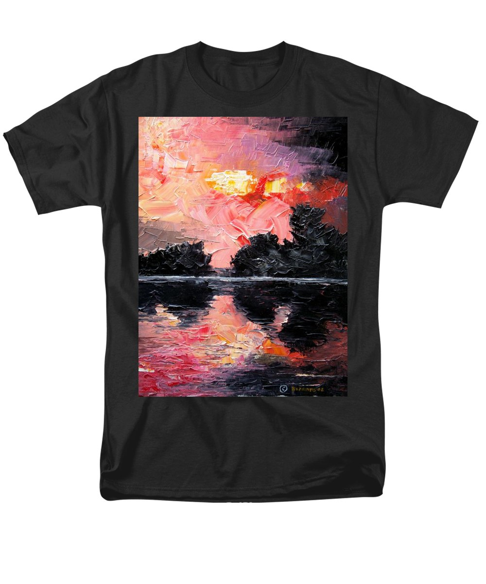 Lake After Storm Men's T-Shirt (Regular Fit) featuring the painting Sunset. After Storm. by Sergey Bezhinets