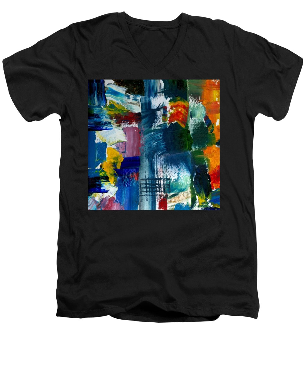 Abstract Collage Men's V-Neck T-Shirt featuring the painting Abstract Color Relationships L by Michelle Calkins