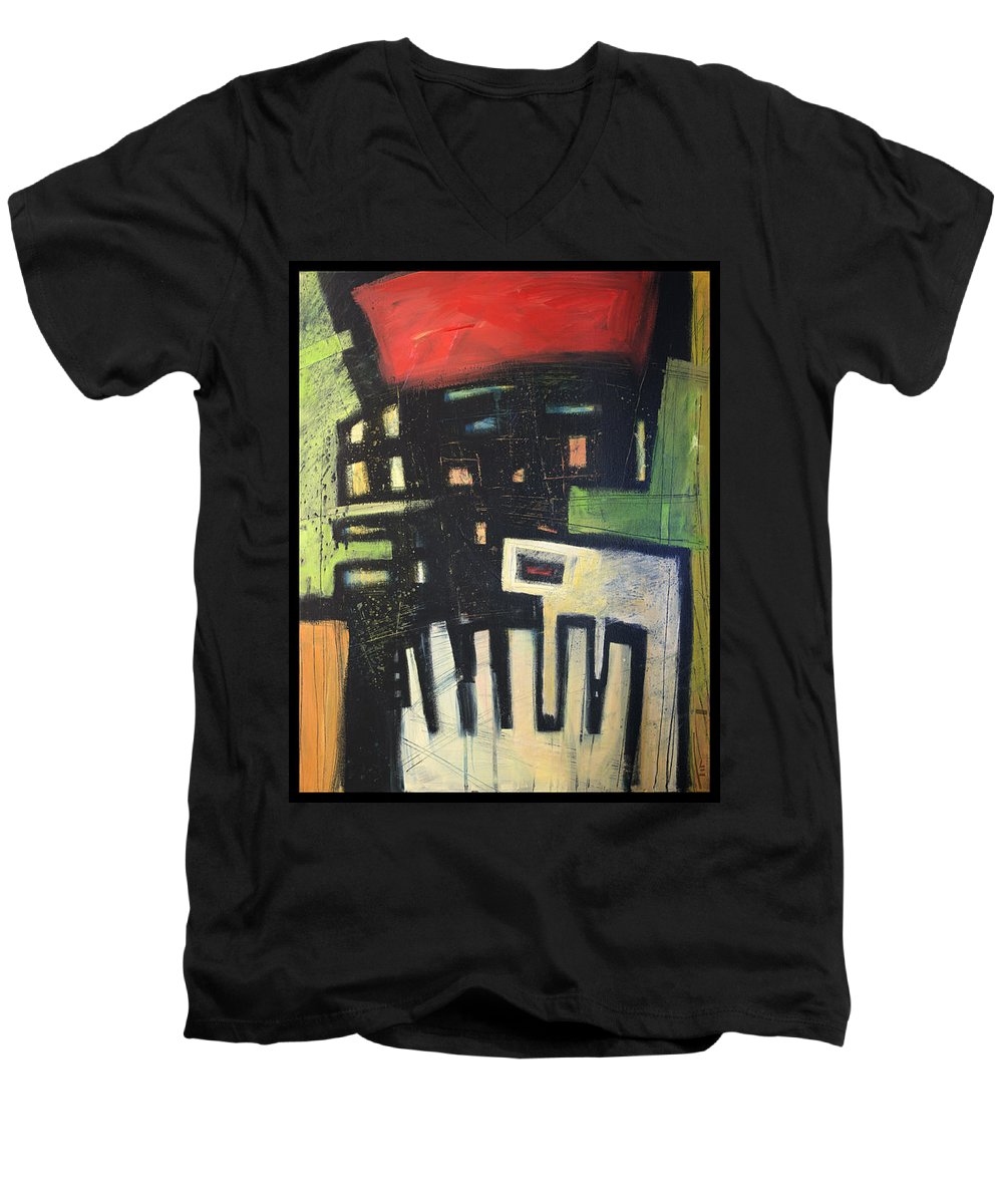 Abstract Men's V-Neck T-Shirt featuring the painting D Flat by Tim Nyberg