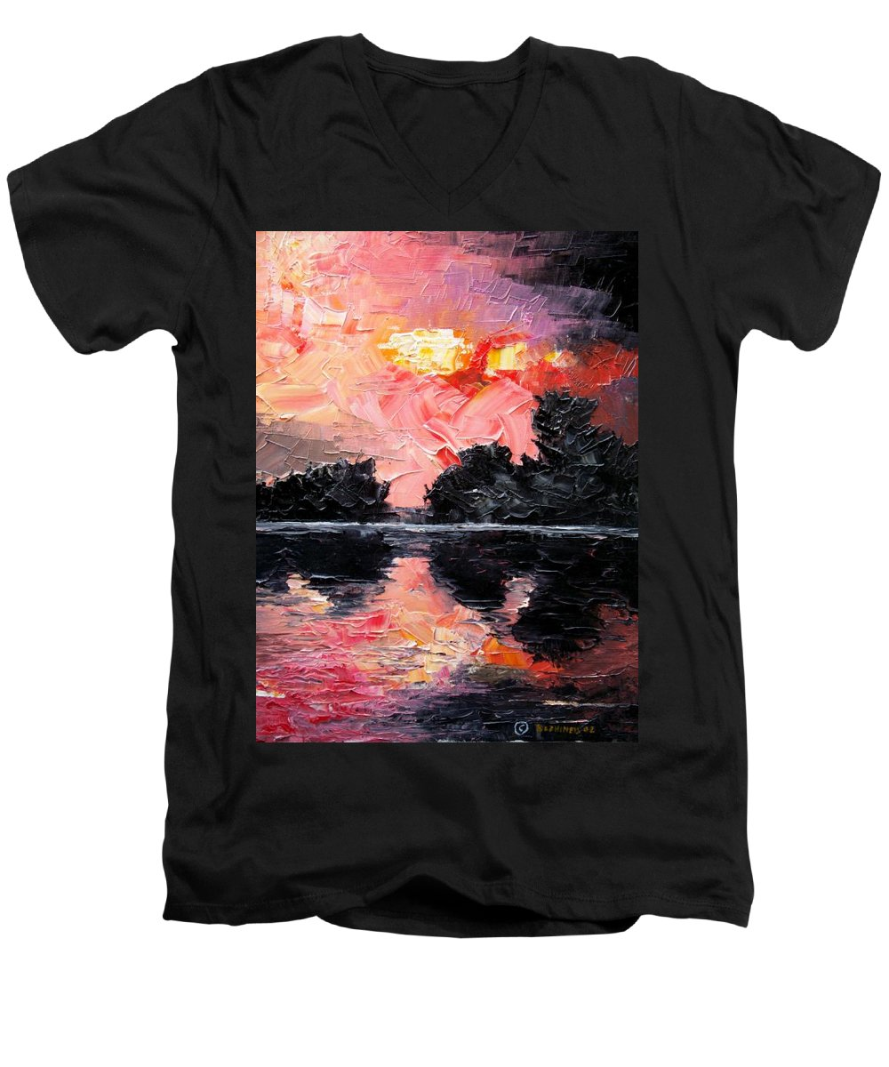 Lake After Storm Men's V-Neck T-Shirt featuring the painting Sunset. After Storm. by Sergey Bezhinets