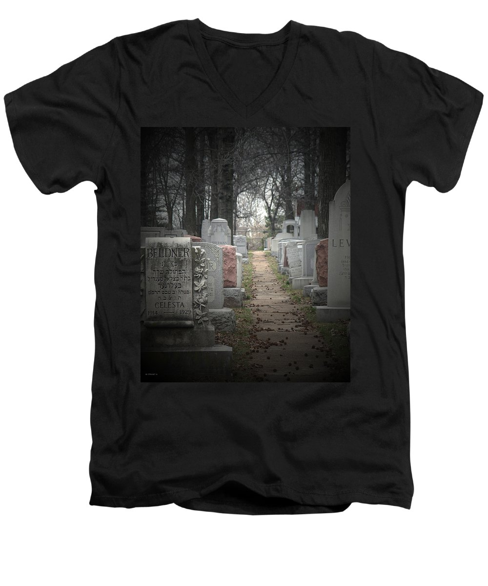 Cemetary Men's V-Neck T-Shirt featuring the photograph Closure by Albert Stewart