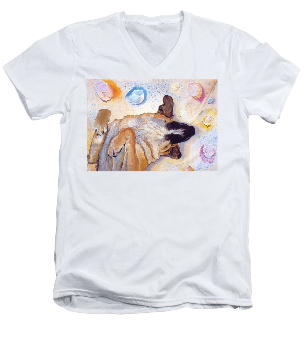 Sleeping Dog Men's V-Neck T-Shirt featuring the painting Dog Dreams by Pat Saunders-White