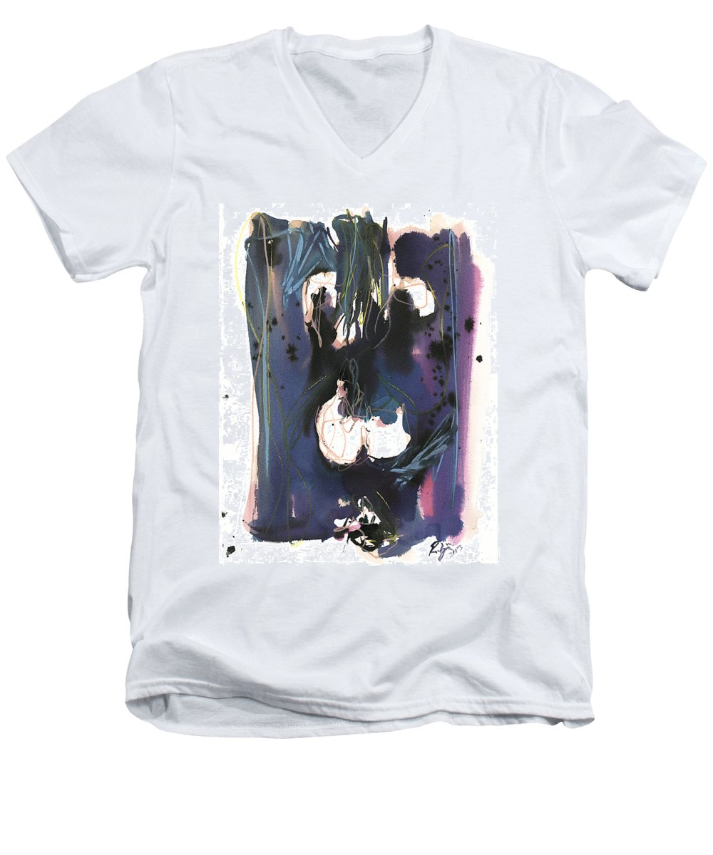 Figure Men's V-Neck T-Shirt featuring the painting Kneeling by Robert Joyner