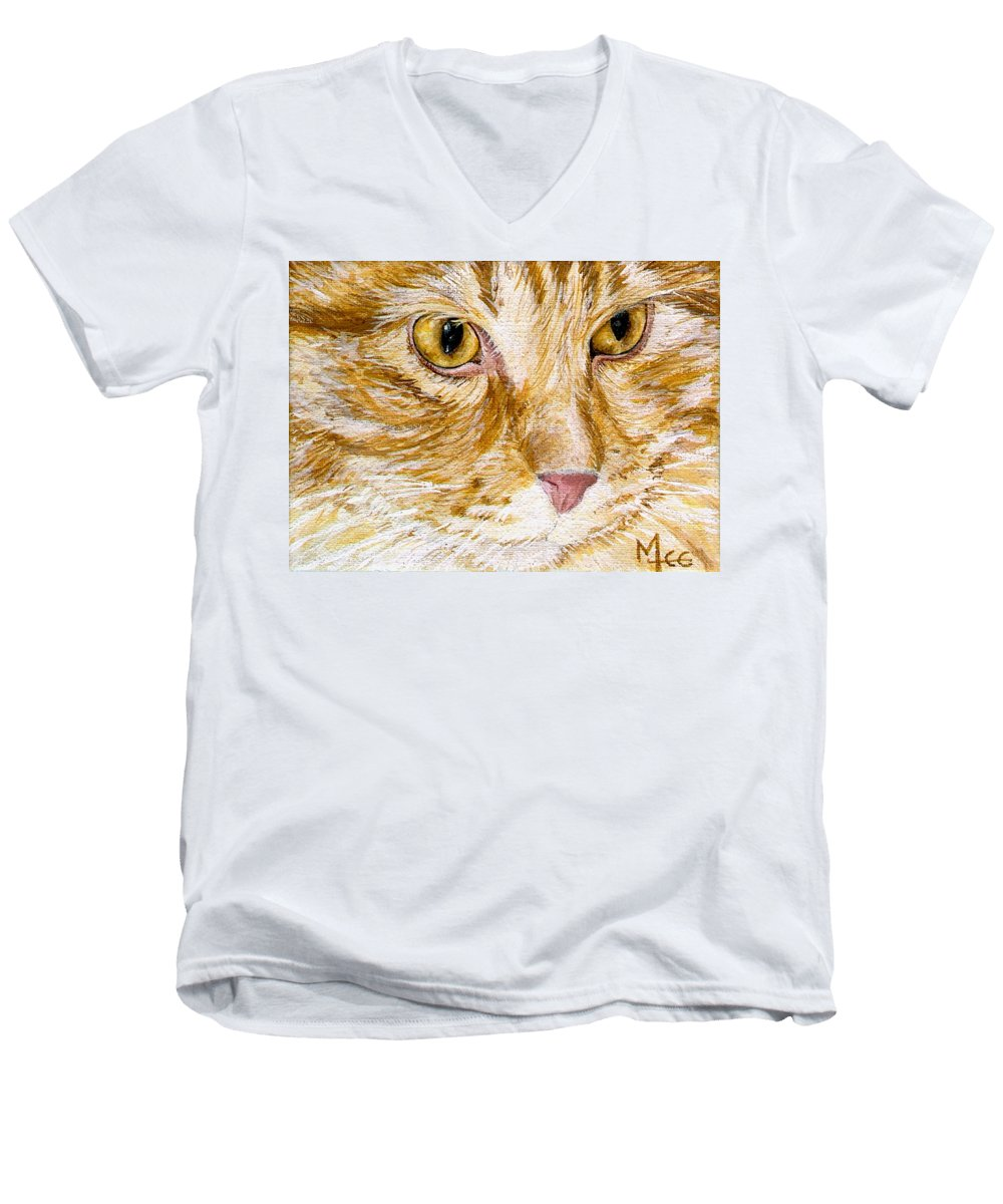 Charity Men's V-Neck T-Shirt featuring the painting Leo by Mary-Lee Sanders