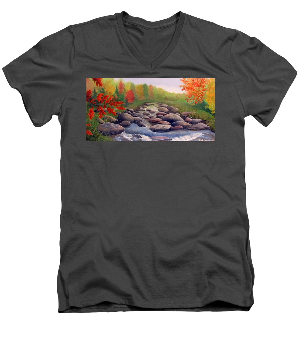 Rick Huotari Men's V-Neck T-Shirt featuring the painting Cherokee Park by Rick Huotari