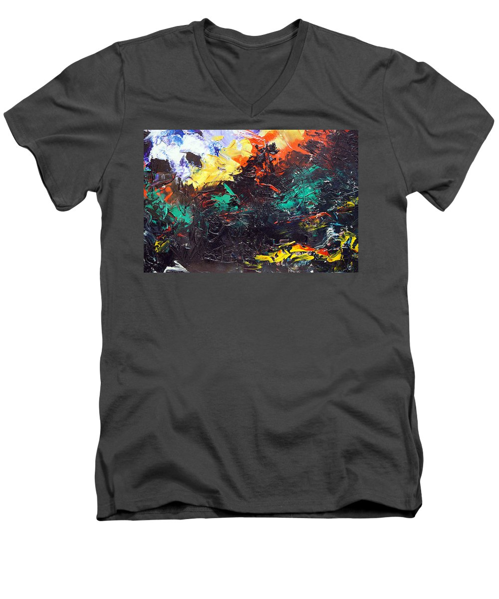 Vision Men's V-Neck T-Shirt featuring the painting Schizophrenia by Sergey Bezhinets