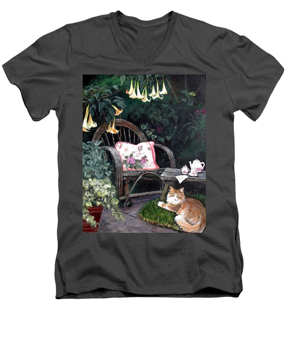 Charity Men's V-Neck T-Shirt featuring the painting My Secret Garden by Mary-Lee Sanders
