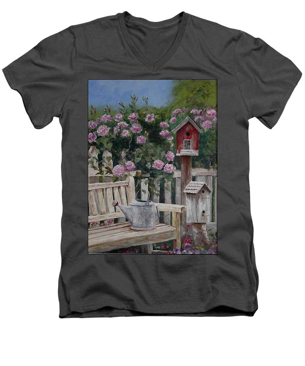 Charity Men's V-Neck T-Shirt featuring the painting Take A Seat by Mary-Lee Sanders