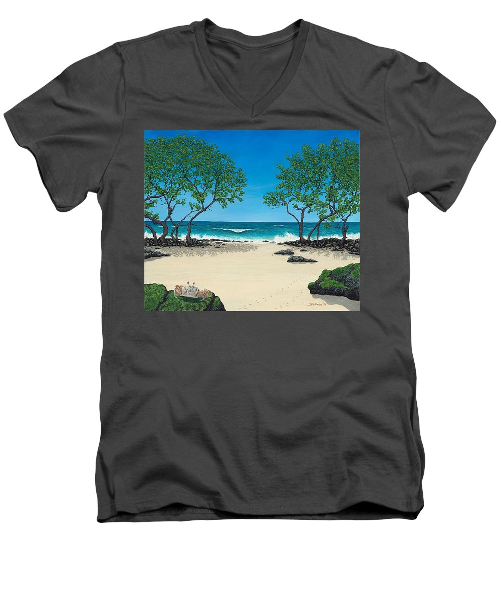 Ocean Men's V-Neck T-Shirt featuring the painting Where Is My Corona by Shawn Stallings