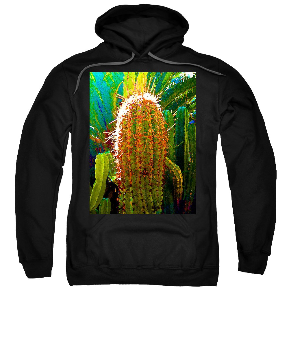 Succulent Sweatshirt featuring the painting Backlit Cactus by Amy Vangsgard