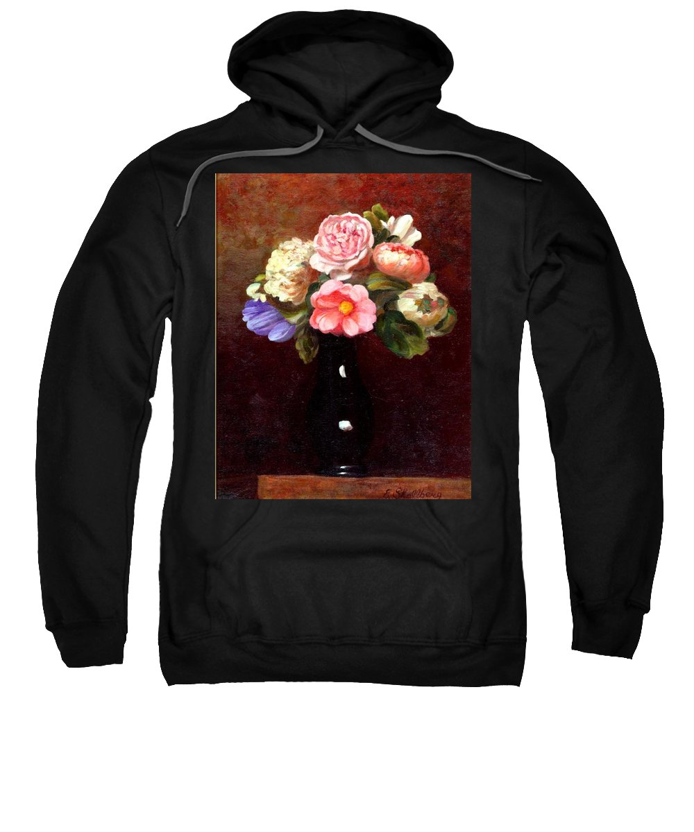 Still Life Sweatshirt featuring the painting Red Roses In A Black Vase by Edward Skallberg