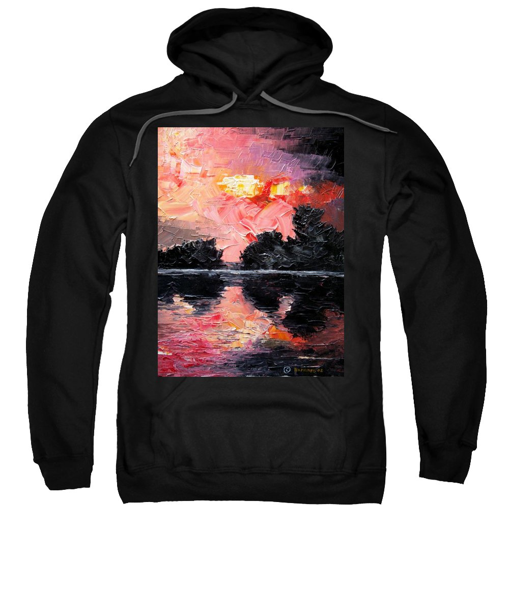 Lake After Storm Sweatshirt featuring the painting Sunset. After Storm. by Sergey Bezhinets