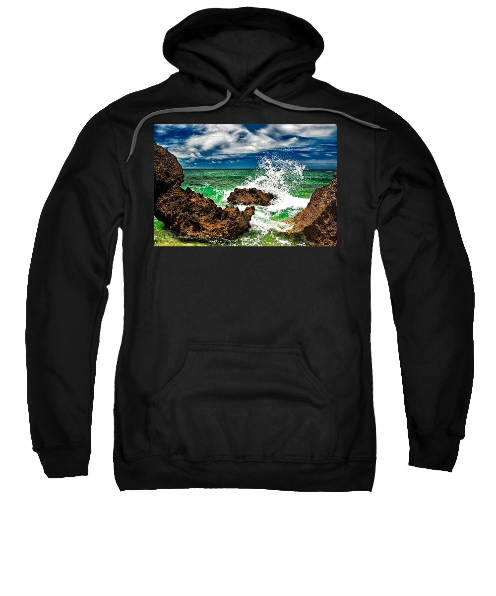 Rocks Sweatshirt featuring the photograph Blue Meets Green by Christopher Holmes