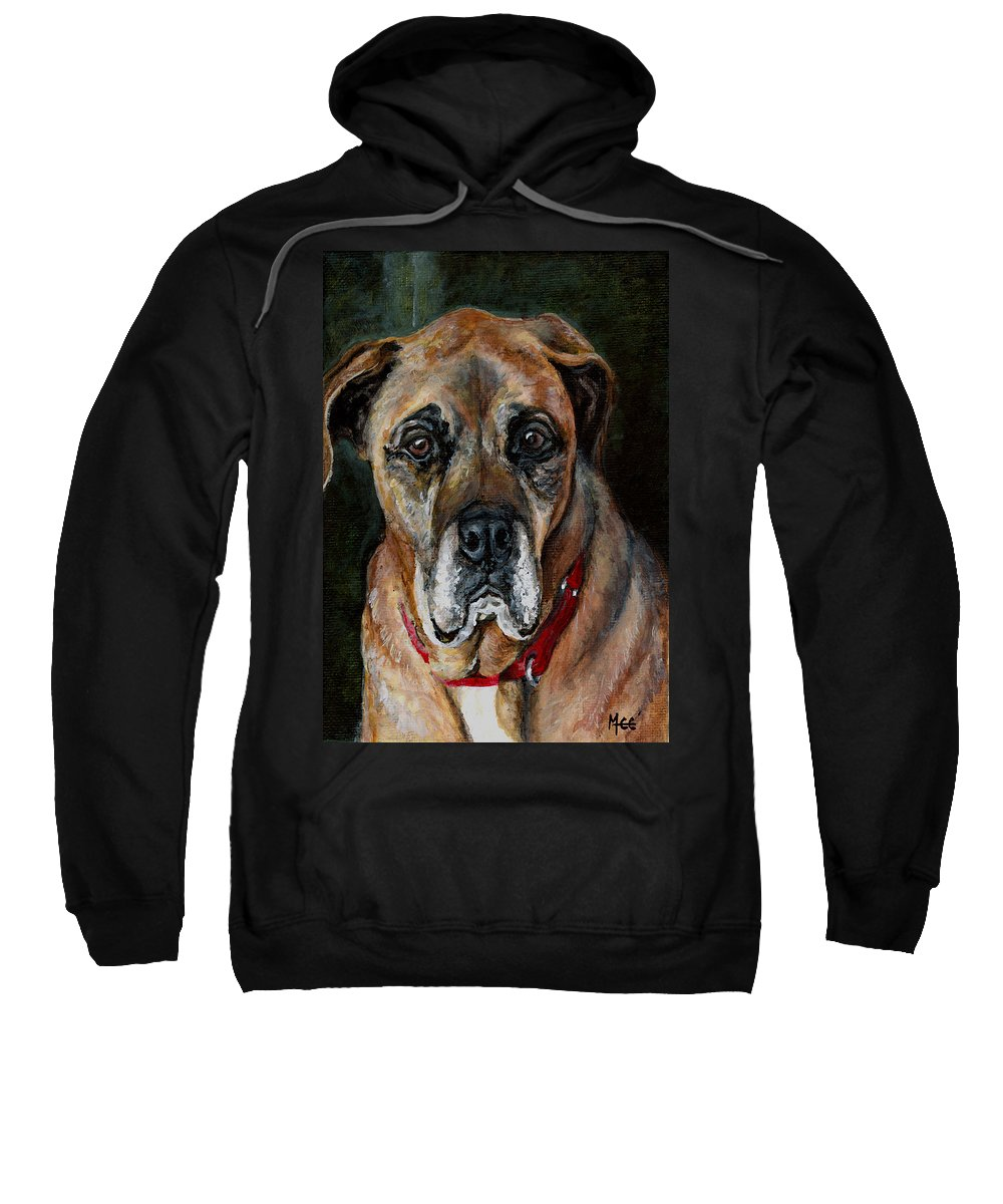 Boxer Sweatshirt featuring the painting Boo For Dogtown by Mary-Lee Sanders