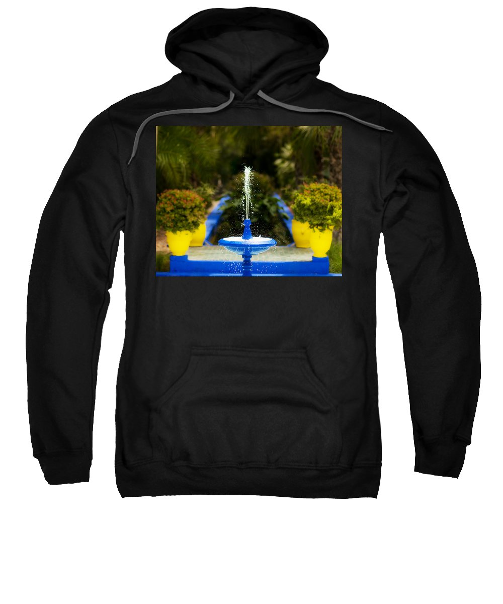 Fountain Sweatshirt featuring the photograph Fountain In Jardin Majorelle Morocco by Beth Riser