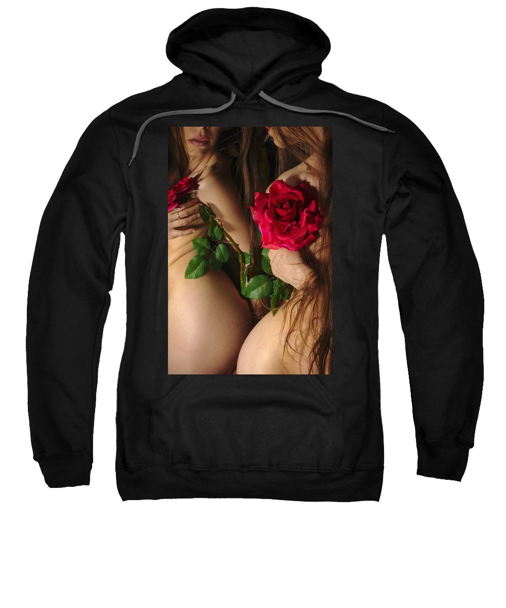 Female Nude Abstract Mirrors Flowers Sweatshirt featuring the photograph Kazi0813 by Henry Butz
