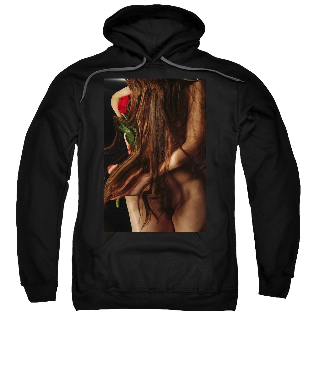 Female Nude Abstract Mirrors Flowers Photographs Sweatshirt featuring the photograph Kazi1181 by Henry Butz